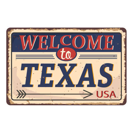 Vintage tin sign with USA state. Texas Retro souvenirs or postcard templates on rust background. Dixie. South.