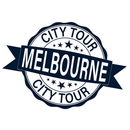 Black grunge rubber stamp with the name of City Tour Melbourne city from Victoria state in Australia Illusztráció