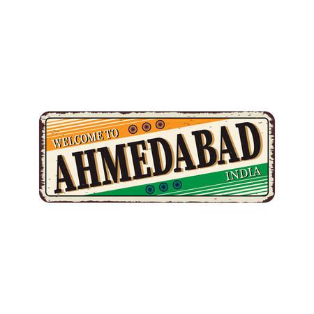 Ahmedabad India Travel Label rusted metal plate Design Ilustración de vector