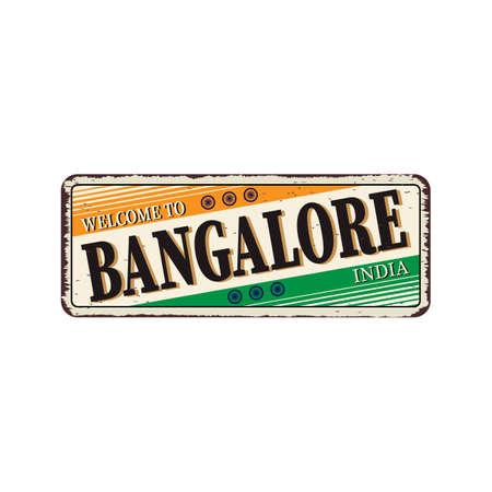 Bangalore India Travel Label rusted metal plate Design