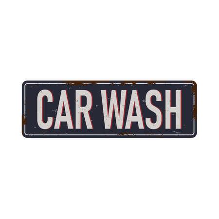 Vintage metal sign - Car Wash - Vector EPS10. Grunge effects can be easily removed. Ilustração