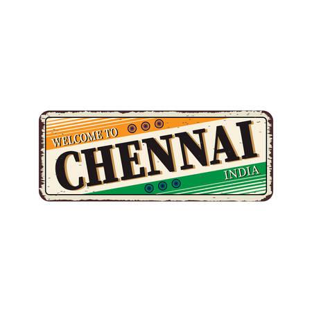 Chennai India Travel Label Diseño de placa de metal oxidado