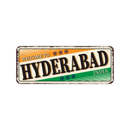 Hyderabad India Travel Label Diseño de placa de metal oxidado