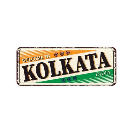 Kolkata India Travel Label rusted metal plate Design