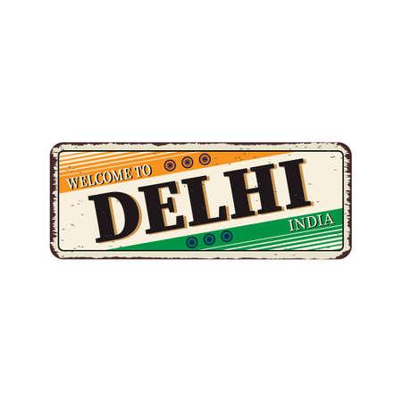 Delhi India Travel Label rusted metal plate Design