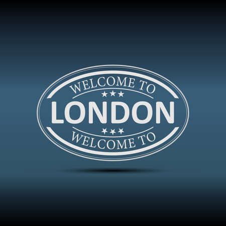 Welcome to London United Kingdom oval icon illustration on a white background Vector Illustration