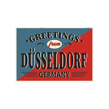 Vintage Touristic Greeting Card - Dusseldorf Germany - Vector EPS10. Grunge effects can be easily removed for a brand new, clean sign.