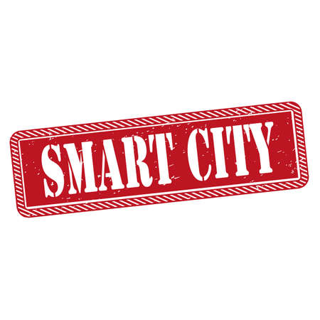 Smart city grunge rubber stamp on white background, vector illustration