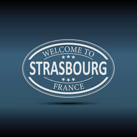 Welcome to Strasbourg France oval icon illustration on a white background