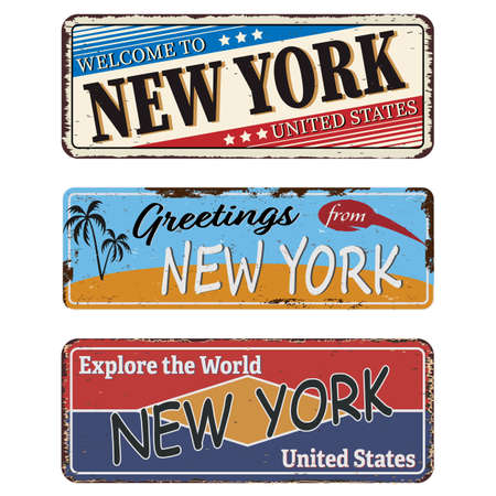 Vintage tin sign NEW YORK Retro souvenirs or old paper postcard templates on rust background.