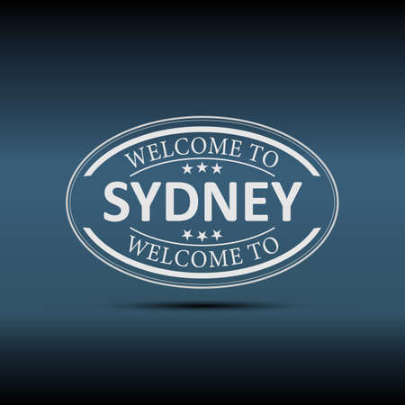 Welcome to Sydney Australia oval   icon illustration on a white background