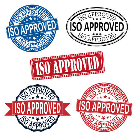 ISO Approved set label stamp illustration Rubber Stamp on white background