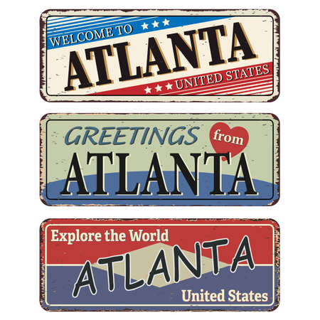 Vintage tin sign. Atlanta. Retro souvenirs or old postcard templates on rust background. Иллюстрация