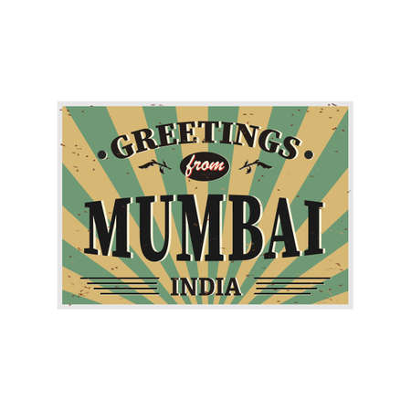 Mumbai India vintage card - poster  illustration, India colors, grunge effects can be easily removed Фото со стока