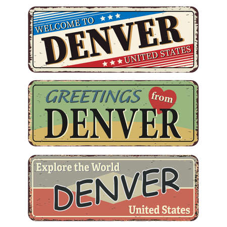 Vintage tin sign. Denver. Retro souvenirs or old postcard templates on rust background.
