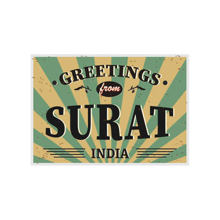Surat India vintage card - poster illustration, India colors, grunge effects can be easily removed