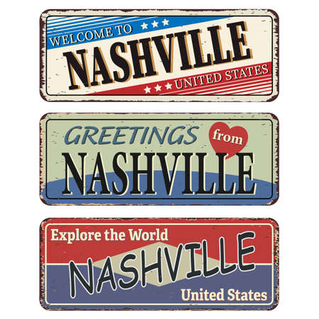 Vintage tin sign. Nashville. Retro souvenirs or old postcard templates on rust background.