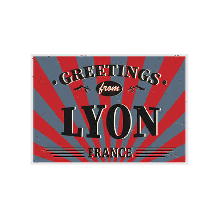Lyon Retro tin sign Vintage vector souvenir sign or postcard templates. Travel theme.