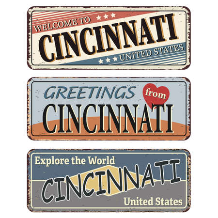 Vintage tin sign. Cincinnati. Retro souvenirs or old postcard templates on rust background.