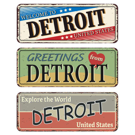 Vintage tin sign. Detroit. Retro souvenirs or old postcard templates on rust background.