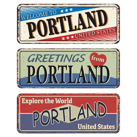 Vintage tin sign set Portland. Retro souvenirs or old postcard templates on rust background.