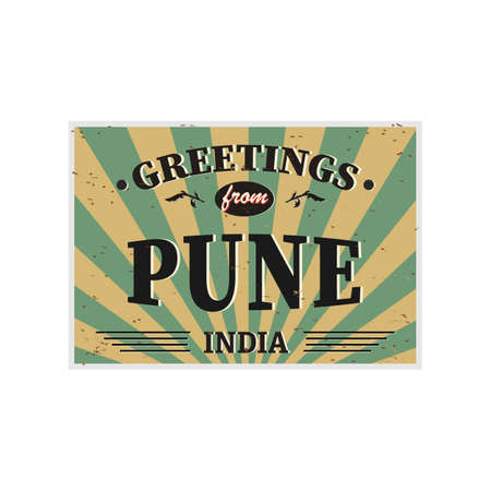 Pune India vintage card - poster illustration, India colors, grunge effects can be easily removed