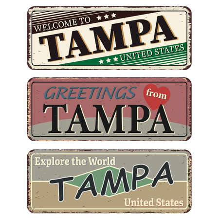 Vintage tin sign set Tampa. Retro souvenirs or old postcard templates on rust background.