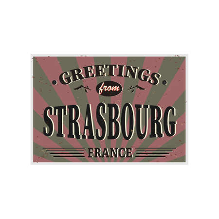 Strasbourg Retro tin sign Vintage vector souvenir sign or postcard templates. Travel theme. Иллюстрация