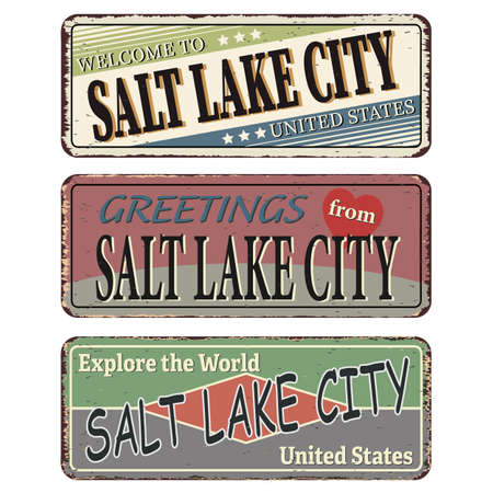 Vintage tin sign set Salt Lake City. Retro souvenirs or old postcard templates on rust background.