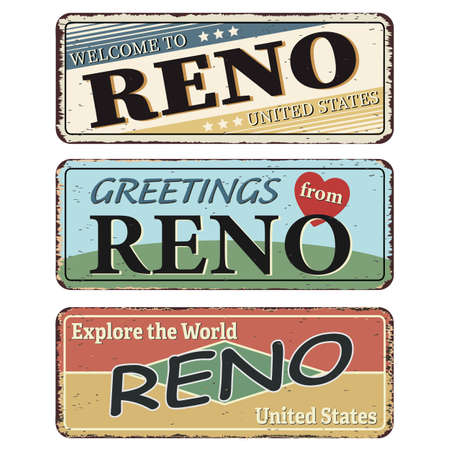Vintage tin sign set Reno. Retro souvenirs or old postcard templates on rust background.