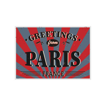 Paris Retro tin sign Vintage vector souvenir sign or postcard templates. Travel theme.