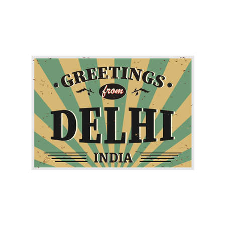 Delhi India vintage card - poster illustration, India colors, grunge effects can be easily removed