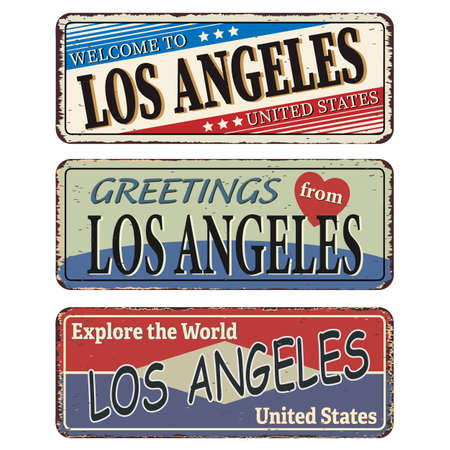 Vintage tin sign. Los Angeles. Retro souvenirs or old postcard templates on rust background. Stok Fotoğraf