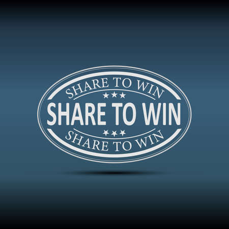 Share to Win logo, banner, tag. Vector illustration on a blue Background