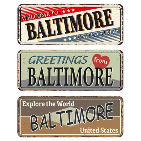 Vintage tin sign. Baltimore. Retro souvenirs or old postcard templates on rust background.