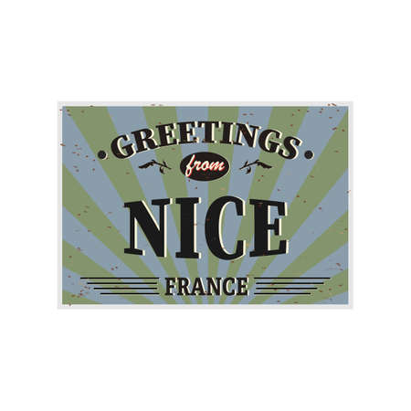 Nice Retro tin sign Vintage vector souvenir sign or postcard templates. Travel theme.