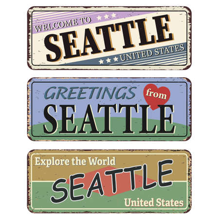 Vintage tin sign set Seattle. Retro souvenirs or old postcard templates on rust background.