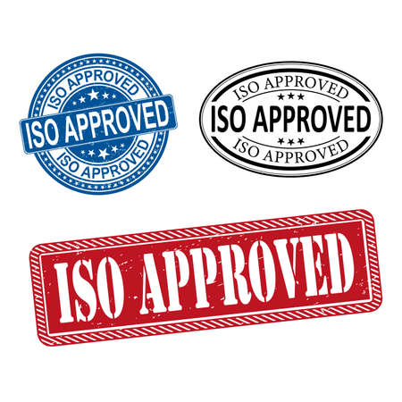 ISO APPROVED certified sign icon. Certification stamp. Circle and square buttons. Flat design set. Thank you ribbon. Vector