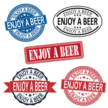 ENJOY A BEER SLOGAN PRINT VECTOR SET ON WHITE BACKGROUND