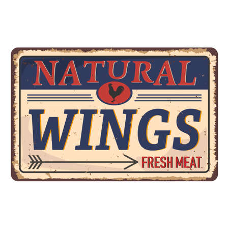 Chicken Wings Menu  Emblem Vintage Tag on a white Background