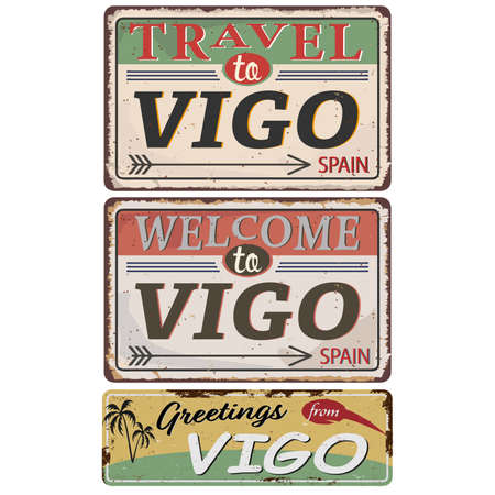 Greeting card Welcome from Vigo Spain, for print or web, authentic looking souvenir. Ilustrace