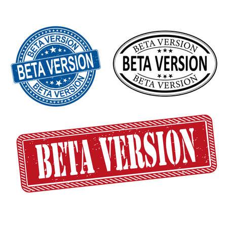 beta version stamp set red, blue, black beta version grunge vintage stamp. beta version