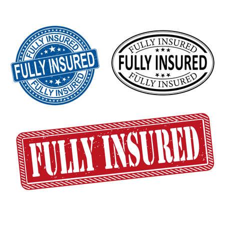 Fully insured grunge rubber stamp set on white, vector illustration Ilustrace