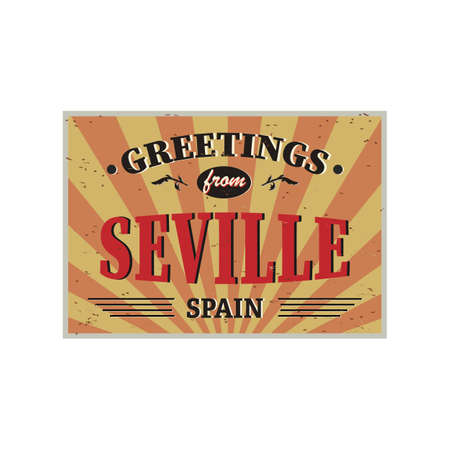 Greeting card Welcome from Seville Spain, for print or web, authentic looking souvenir. Фото со стока