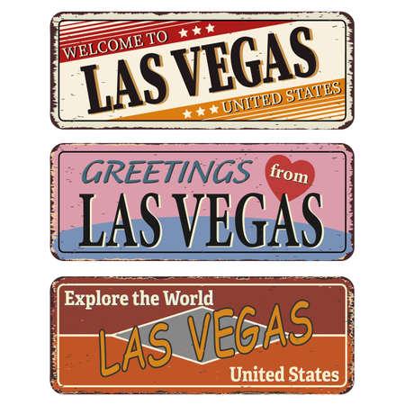 Vintage tin sign. Las Vegas. Retro souvenirs or old postcard templates on rust background.