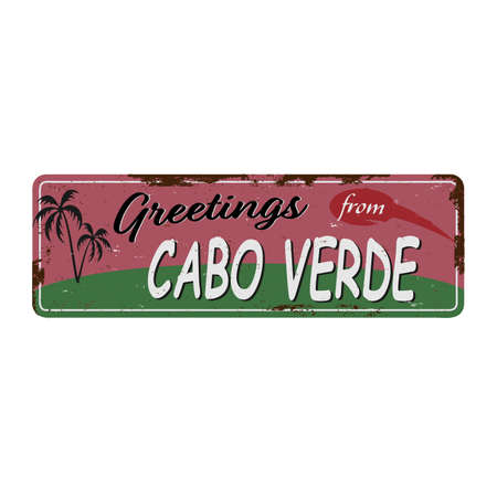 Greetings from Cabo Verde Vintage tin sign with Retro souvenirs or postcard templates on rust background. Vintage old paper Ilustrace
