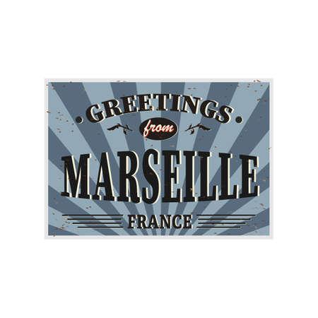 Marseille Retro tin sign Vintage vector souvenir sign or postcard templates. Travel theme.