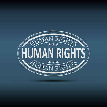 Human Right Vector Image badge icon on a blue background Ilustrace