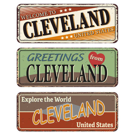 Cleveland State. Retro souvenirs or old paper postcard templates on rust background