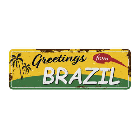Greetings from Brazil Vintage tin sign with Retro souvenirs or postcard templates on rust background. Vintage old paper